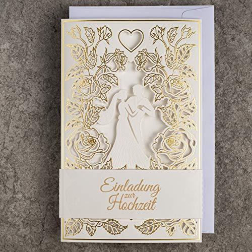 Art Nuvo ZAP_DE_09 - Lote de 20 invitaciones para boda (130 x 205 mm, con inserciones...