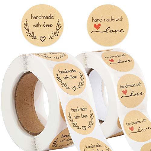 1000pcs 2,5cm Papel Kraft Pegatinas Handmade with Love Etiquetas Adhesivas Redondas...