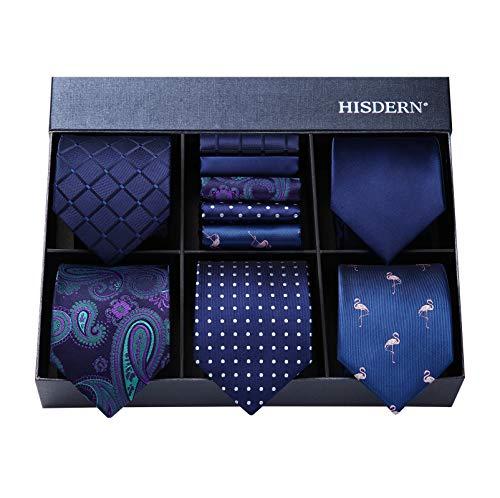 HISDERN Lote 5 PCS Clasico Formal Elegante Hombres Corbata de seda Set Corbata & Panuelo...