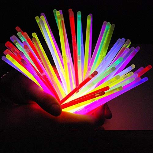 Lote de 100 bastones luminoso fluorescente varita luminosa snaplight fiesta - 5 colores...