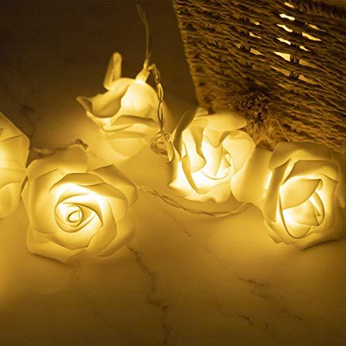 Seamuing Cadena de Luz LED Guirnalda Luces Flor Rosa Lámpara 14ft 30 LED Rosas Luces de...