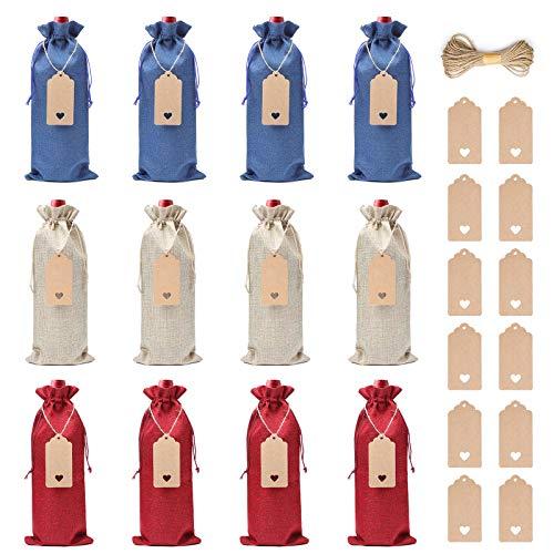 Bolsas de Vino de Yute, XiYee 12 Bolsas de Vino de Arpillera, 35cm X 15cm Hessian Wine...