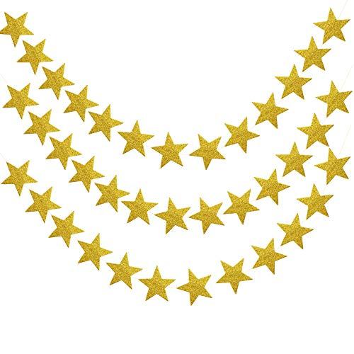 Pinsheng Guirnalda de Papel de Estrellas, 52 Pies Guirnalda de Papel Decoración Estrella...