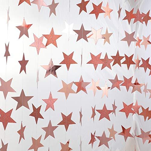 Banners de estrella de oro rosa guirnaldas decoración de fiesta de papel brillante Bling...