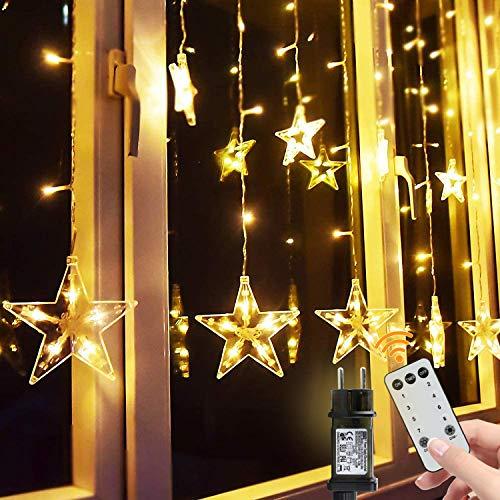 BlissTrip Guirnaldas Luminosas Estrellas Cortina Luces, Led Telones de Hogar, Usado para...