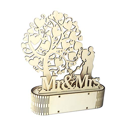 MIKI-Z Decoración de Madera para Boda Mr Mrs Love Forma de corazón Colgante romántico...