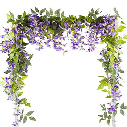 VINFUTUR 2m×5pcs Guirnalda de Flores Artificiales Wisteria, Plantas de Flores Falsas...