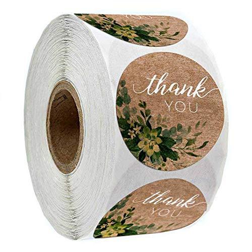 500 pegatinas redondas de agradecimiento con diseño de flores para bodas, fiestas, hechas...