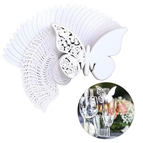 Tarjeta de Copa Mariposa 100 Piezas 3D Hollow Mariposa Nombre lugar para Boda Invitaciones...