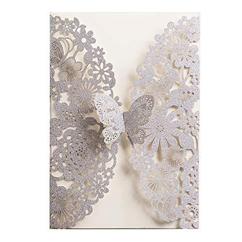 WISHMADE 20x Silver Glitter Laser Cut Tarjetas de invitación de boda Plata con mariposa y...