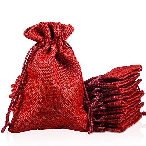PAMIYO 30 Unidades Rojo Yute Sacos de Yute Bolsa, Calendario de Adviento Yute Bolsa...