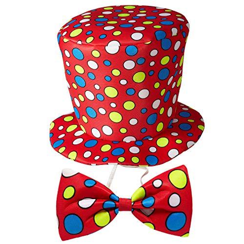 WIDMANN 91441 – Sombrero de Payaso con Pajarita, Juego de 2 Piezas, Talla única para...