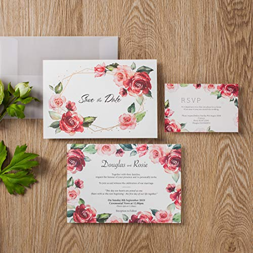 WISHMADE 100Pcs Tarjeta de invitaciones de boda de diseño floral rosa roja, borde de...