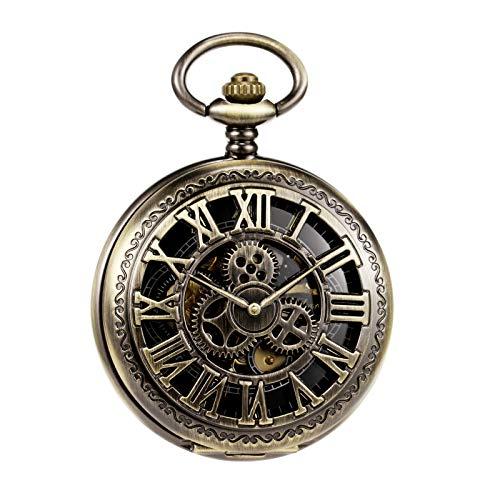 MORFONG Reloj de bolsillo para hombre y mujer, con cadena de bronce antiguo, mecánico,...