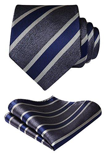 HISDERN Panuelo de corbata a rayas Banquete de boda Conjunto de corbata y bolsillo para...