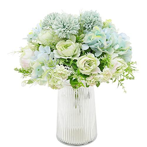 Decpro 2 Piezas de hortensias de Seda de peonía Artificial, claveles de crisantemo, Todos...