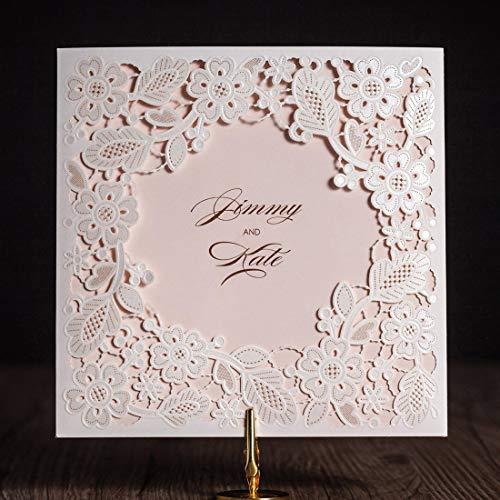 Wishmade - Kit de invitaciones de boda cortadas con láser, diseño de flores huecas para...