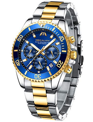 MEGALITH Reloj Hombre Oro Acero Inoxidable Relojes de Pulsera Grande Cronógrafo Relojes...