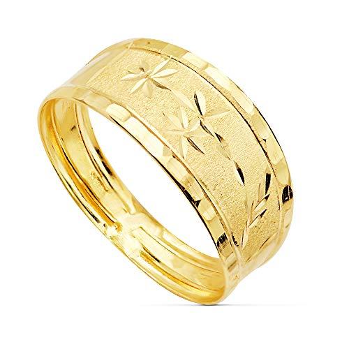 Anillo Sortija de mujer Oro Amarillo 18 Kilates Banda estrellas