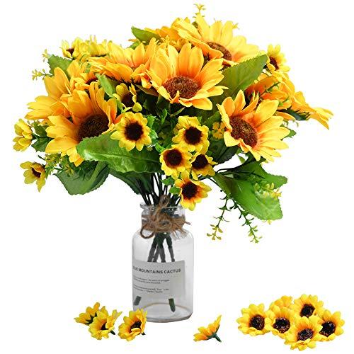 4 Paquetes de Ramo de Girasol Artificial 4 racimos de Girasoles de Seda Flores Amarillas...