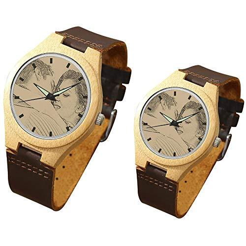 Reloj de Pulsera para Parejas Reloj Personalizado con Foto y Grabado de Cuarzo Analógico...