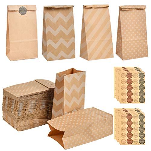 YANSHON 120 Bolsas de Papel Kraft DIY con Pegatinas para Niños 9 x 6 x 18 cm, Bolsa de...
