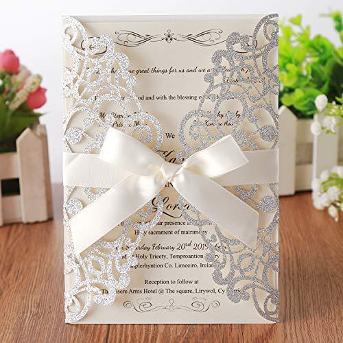 Hosmsua 20 tarjetas de invitación de boda con lazo y sobres para novia, boda, compromiso,...