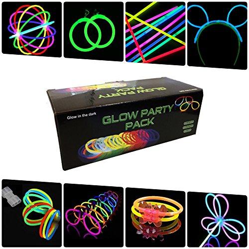 Pack fiesta Glow pulseras, collares, gafas, pulseras triples, orejas conejo, pendientes,...