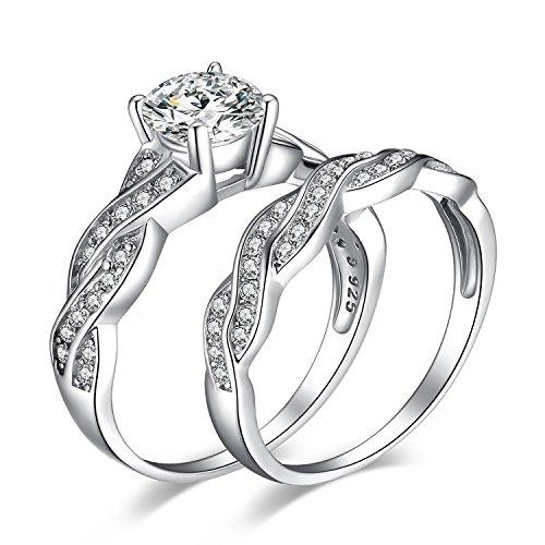 JewelryPalace Infinito Anillos Mujer Plata Diamante Simulado, 1.5ct Anillos de Compromiso...