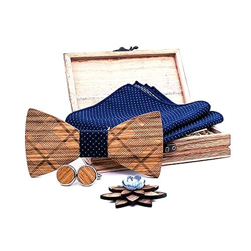 Kuty, juego de pajarita de madera. El conjunto incluye: pajarita de madera, gemelos de...