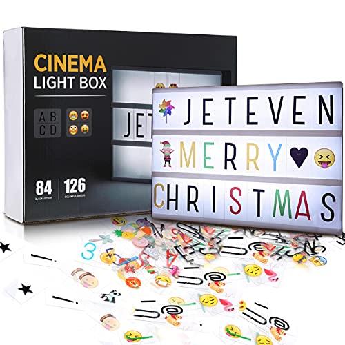 Jeteveven Caja de Luz A4 con 210 Letras, Lightbox LED Letras Emoji Lámparas Números USB,...