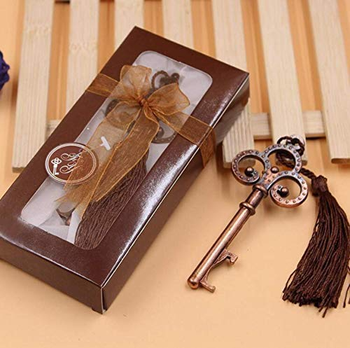 ZHONGJIUYUAN 10 unidades (bronce rojo) esqueleto clave forma abrebotellas regalo boda...