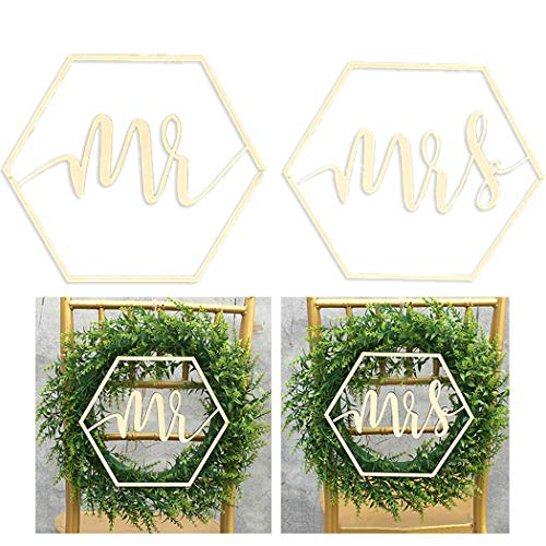 Outgeek 2 UNIDS Mr and Mrs Wedding Chair Sign Madera Decorativa Wedding Sign Wedding Chair...