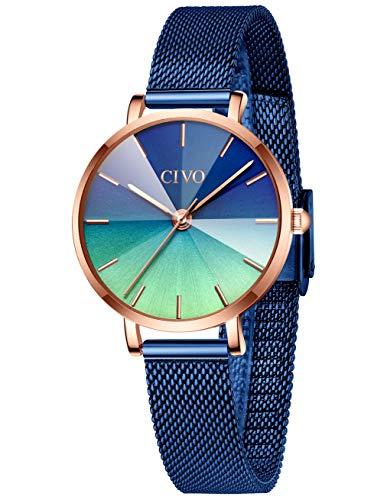 CIVO Relojes Mujer Azul Reloj de Pulsera de Acero Inoxidable Impermeable para Damas con...