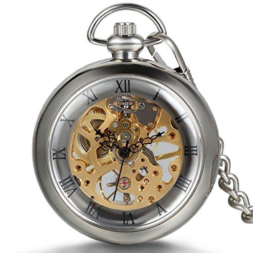 Jewelrywe Reloj de Bolsillo mecánico Cuerda Manual, clásico Retro Reloj Bronce, Pantalla...