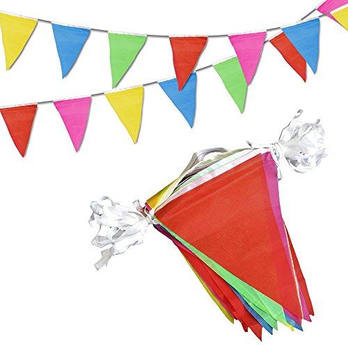 Novelty Place 30M Banderines de Tela - 75 Banderines Colgantes Multicolor - Fiesta de...