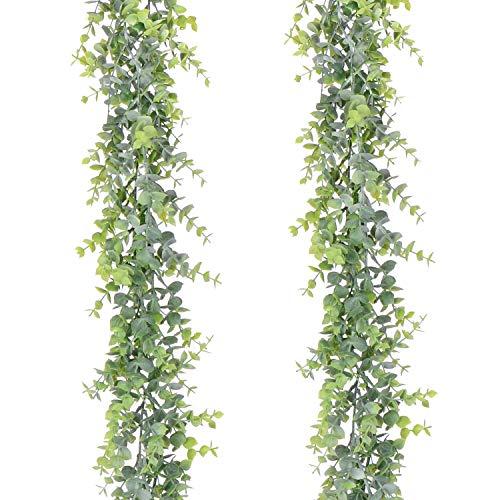YQing 2 Piezas Eucalipto Artificial Guirnalda, Hojas de eucalipto Eucalyptus Guirnaldas...