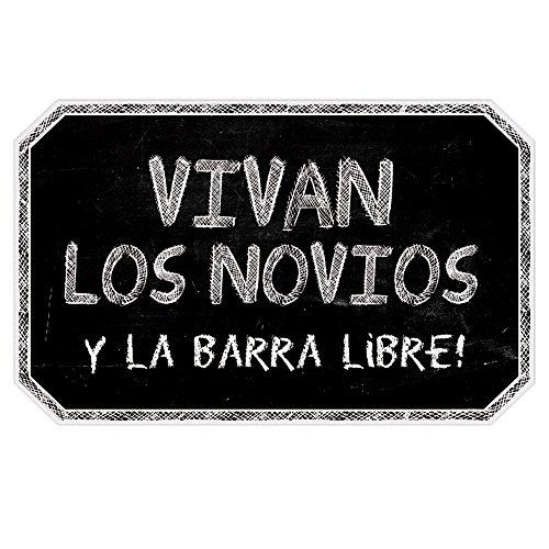 Cartel Vivan los Novios y la Barra Libre | Decoración de boda (40x25cm) | Material PVC...