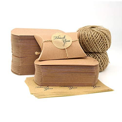VEESUN Cajas de regalo pequeñas, 6x9cm Cajas de almohadas marrones Favor de la boda Caja...