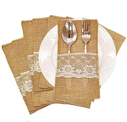 Amajoy 50 piezas de arpillera natural de encaje para utensilios de cuchillos, tenedores,...
