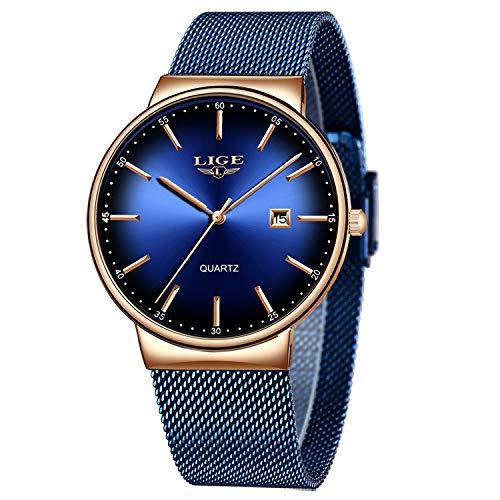 LIGE Relojes para Hombre Moda Reloj de Cuarzo analógico Simple Hombres Caballero Azul...