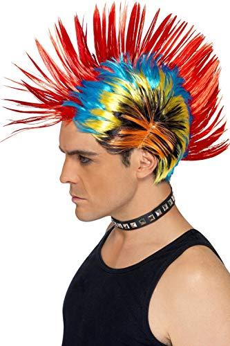 Smiffys Peluca de punk de la calle de los 80, mohicano, multicolor