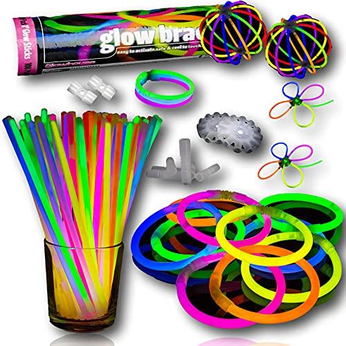 The Glowhouse Los 100 Colores Premium Pack glowhouse palillo del Resplandor Pulseras...