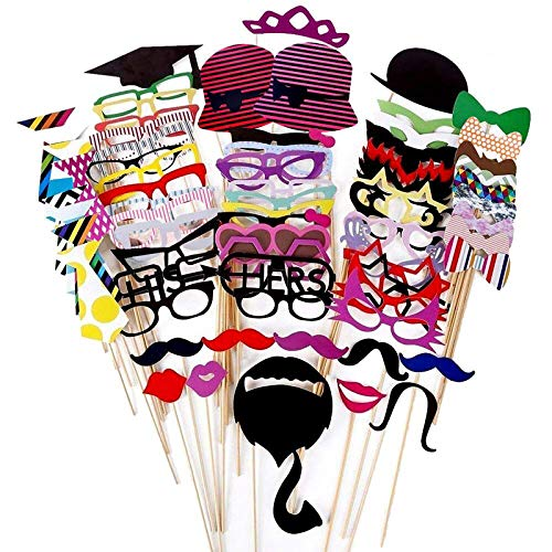 Foonii - 76Palitos Multicolor para Manualidades, con Formas de Gafas, Bigote, Labios,...