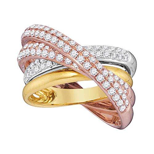Anillo cruzado de oro de 14 quilates, tricolor, diamante redondo, de 1 1/4 quilates para...