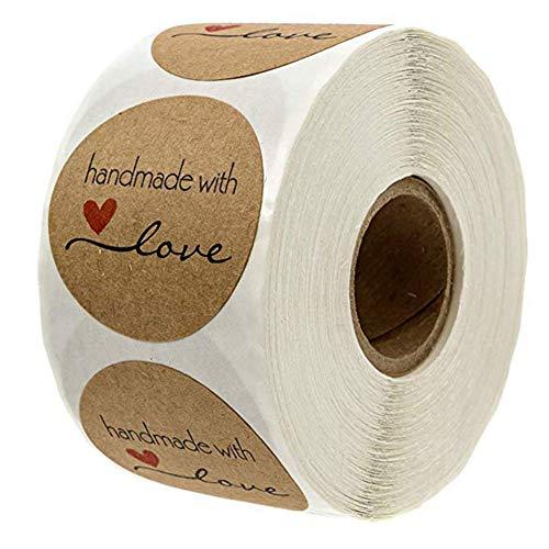 Rollo de 500pcs Pegatinas Etiqueta Adhesiva Pegatina Kraft, redondas, hechas a mano, para...