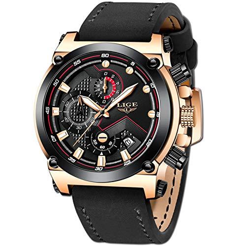 LIGE Hombre Relojes Moda Lujo Oro Reloj Hombres Negocios Clásico Negro Cuero Automática...