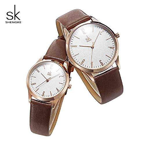 DECTN Reloj de Pulsera Relojes de Cuero para Amantes Relojes de Pareja de Moda Mujeres...