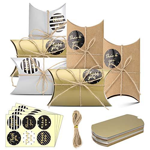 Caja de regalo Candy de papel Kraft, fiestas de cumpleaños, caja de almohadas para bodas,...