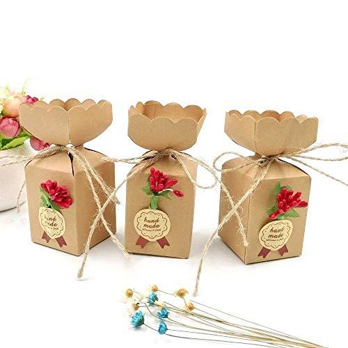 JZK 50 Cajas Favor Kraft con línea Yute + Flores + Pegatinas, Caja Dulces Caramelos Papel...